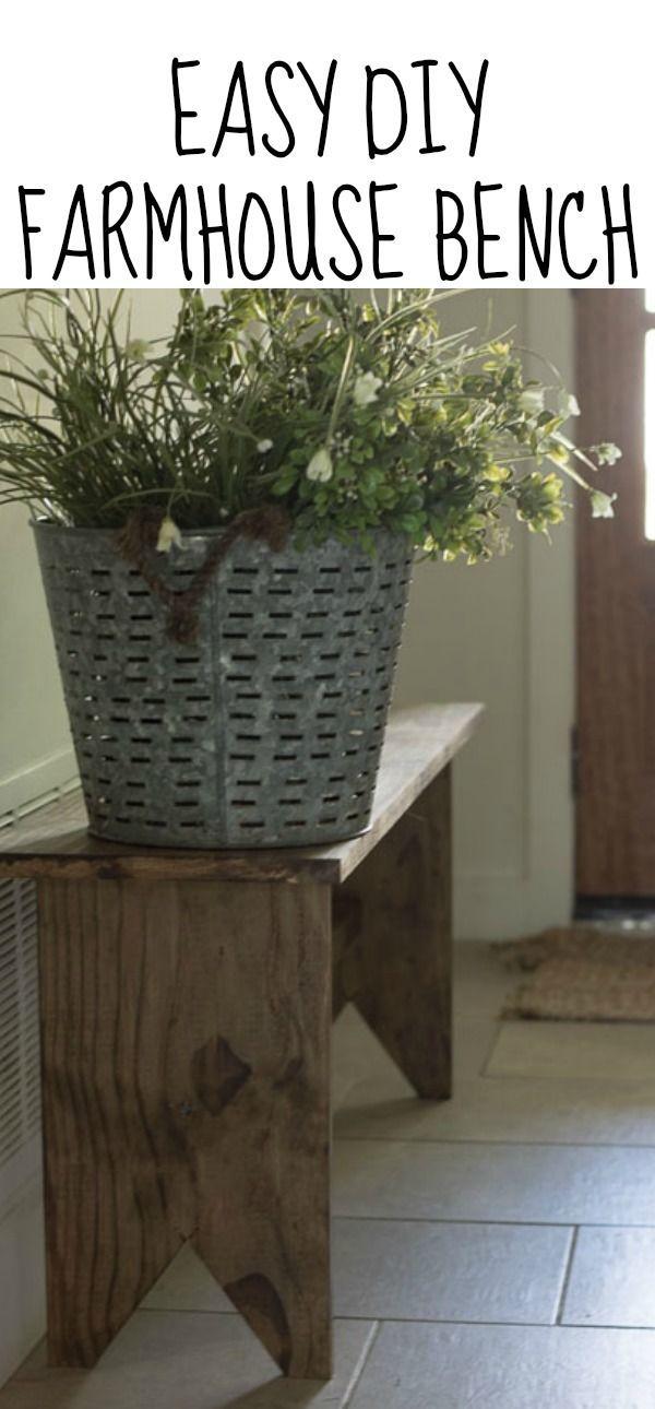 Easy DIY Farmhouse Bench