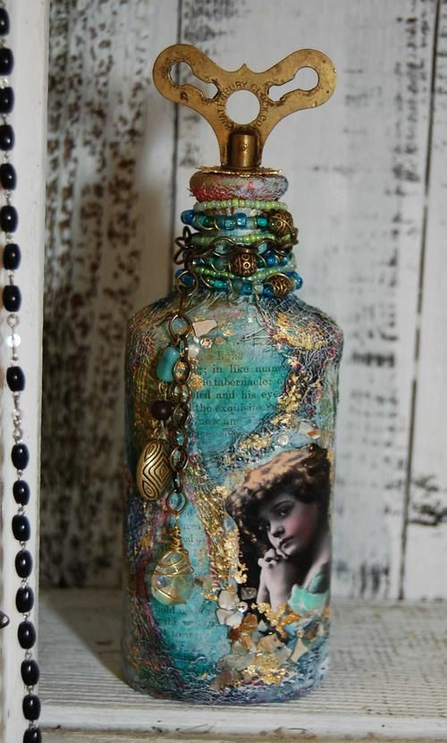 ❥ Mixed Media bottle by Cristina Galliher  it's not jewelry.... but it&#39...