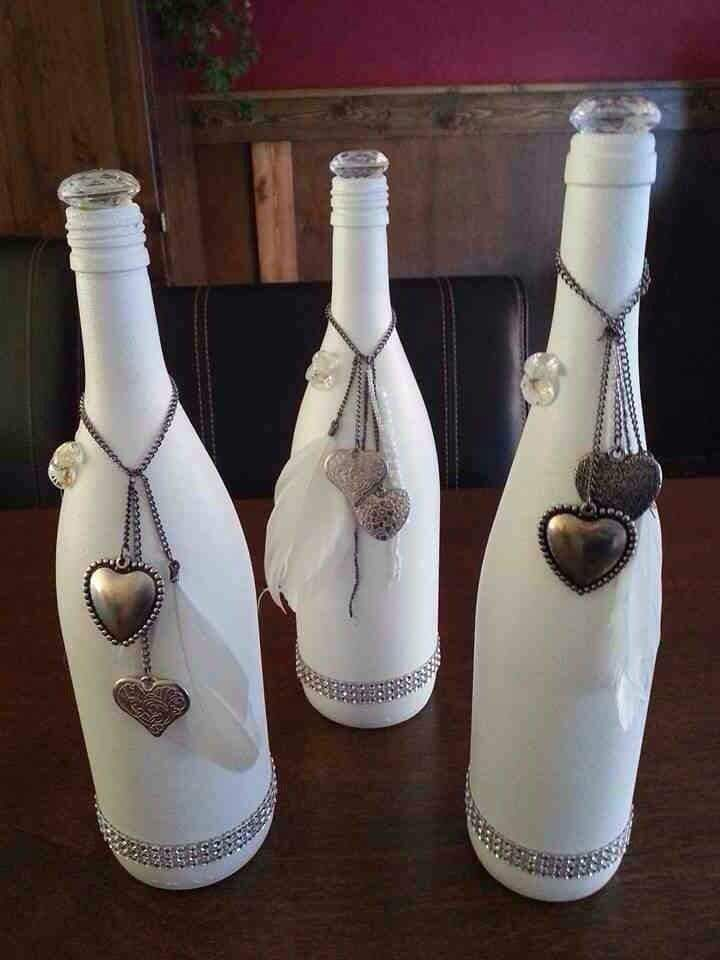 Decorative Bottles : White Painted Wine Bottle With Hearts ...