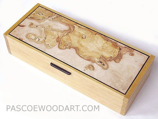 Desktop box or pen box - Ceylon satinwood box with spalted maple burl top. No fa...