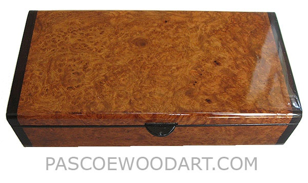 Handmade wood box - Decorative wood keepsake box made of amboyna burl with bois ...