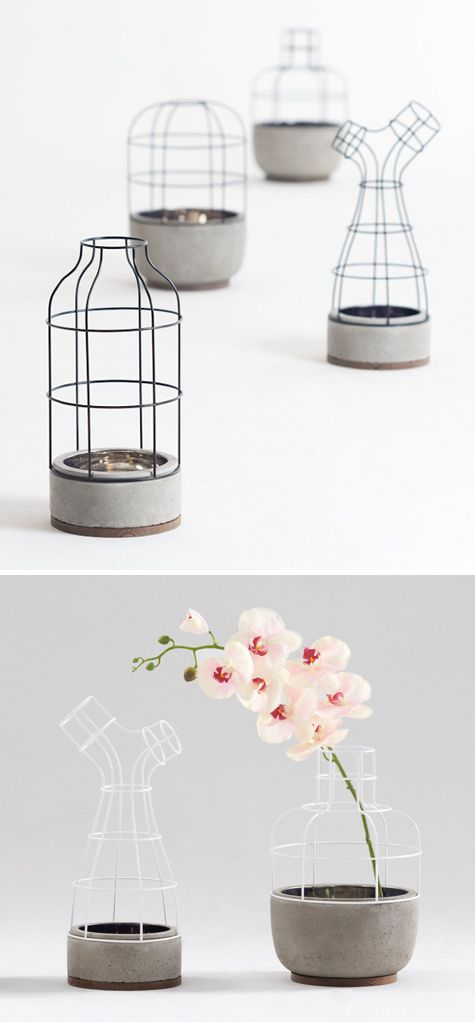 V4 is a lovely interpretation of a vase made from iron, concrete and walnut, by ...