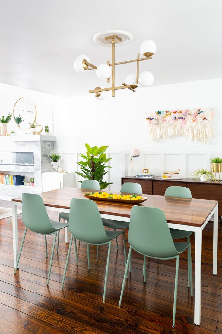 Take a look into the newly made-over modern dining room of Ashley from Sugar & C...