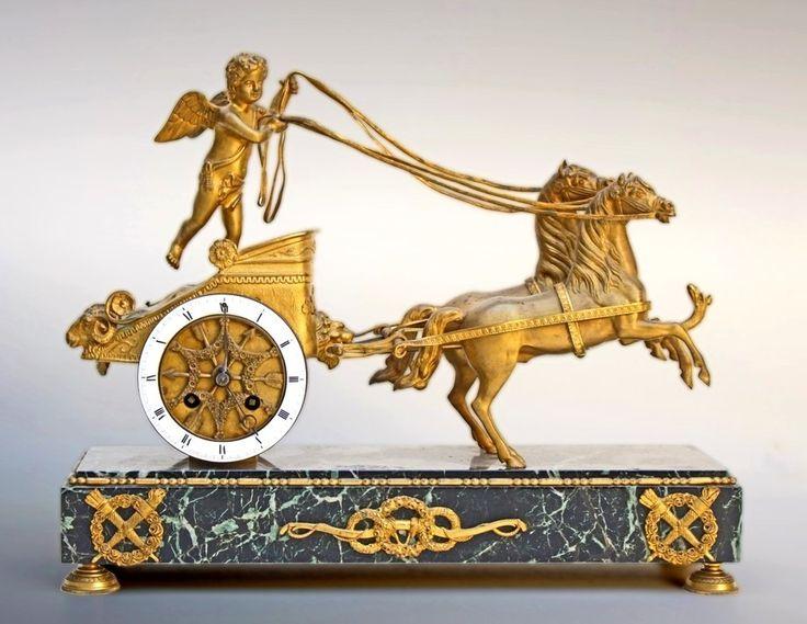 #Pendule Début XIXème. Char De l'Amour. En Bronze Doré. En vente sur Proantic...
