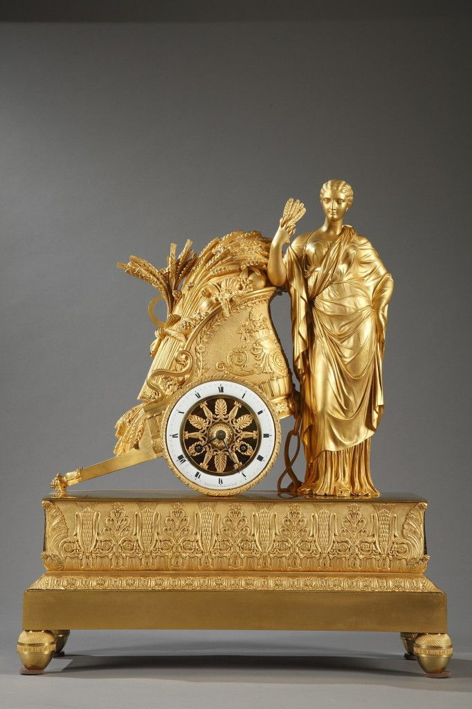 Superb sculpted gilt bronze mantel clock featuring Ceres, the Roman goddess of a...
