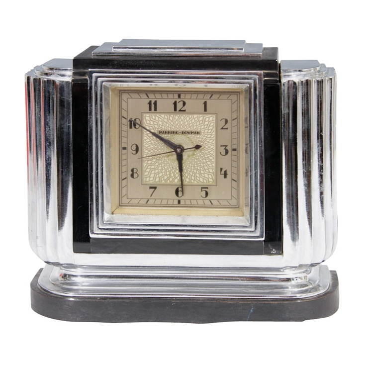 Art Deco Chrome and Bakelite Table Top Clock by Manning - Bowman (
