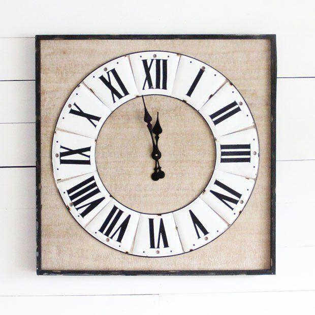 Clocks Decor Objects Square Roman Numeral Farm Clock