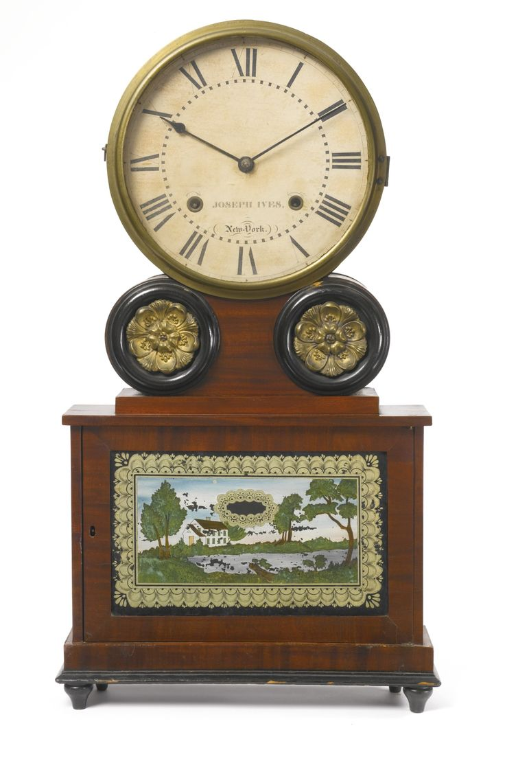 Rare Classical Figured Mahogany and Eglomise Paneled Wagon Spring Shelf Clock, J...
