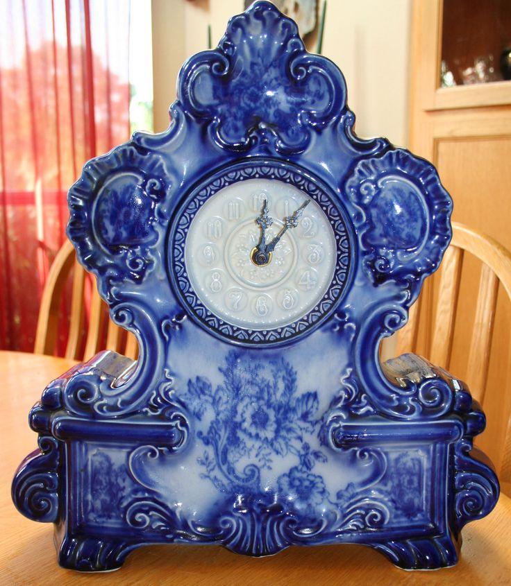 Clocks & Vintage Time Pieces: Antique Vintage Delft Blue Mantel ...
