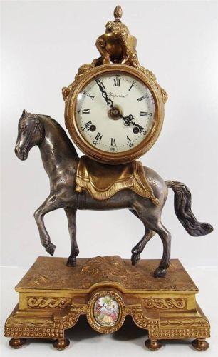 Vintage mantle clock - Gilt bronze Horse mantle clock - ting tang bell 8 day