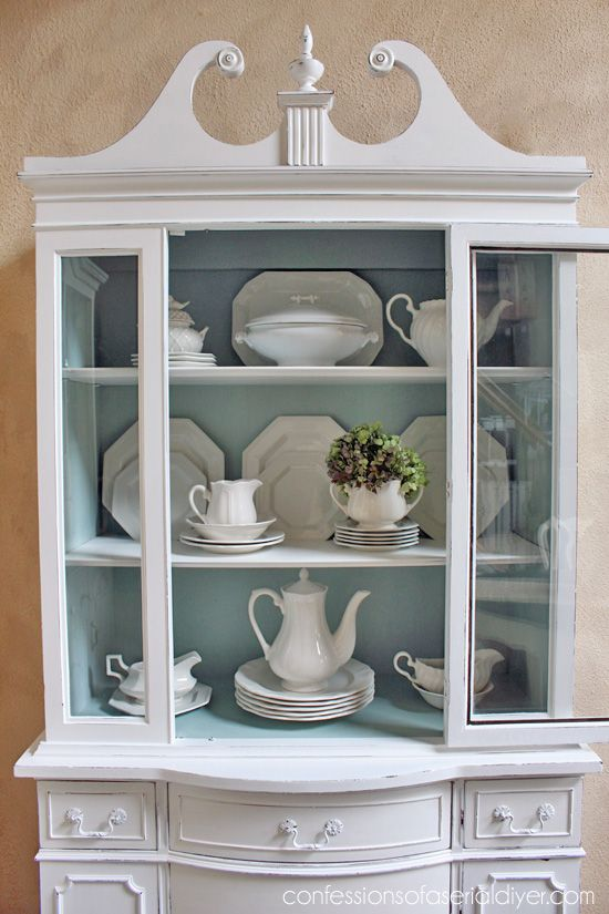 Duck Egg Blue And White China Cabinet