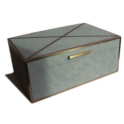 Custom Sage Cross Lid Shagreen Box