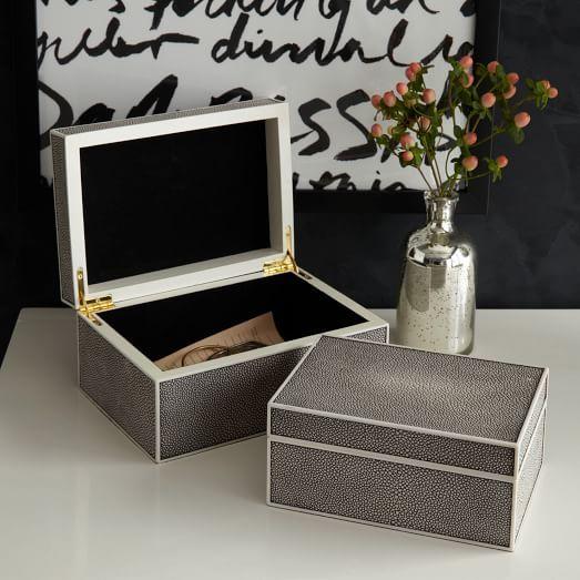 Faux Shagreen Box - Charcoal