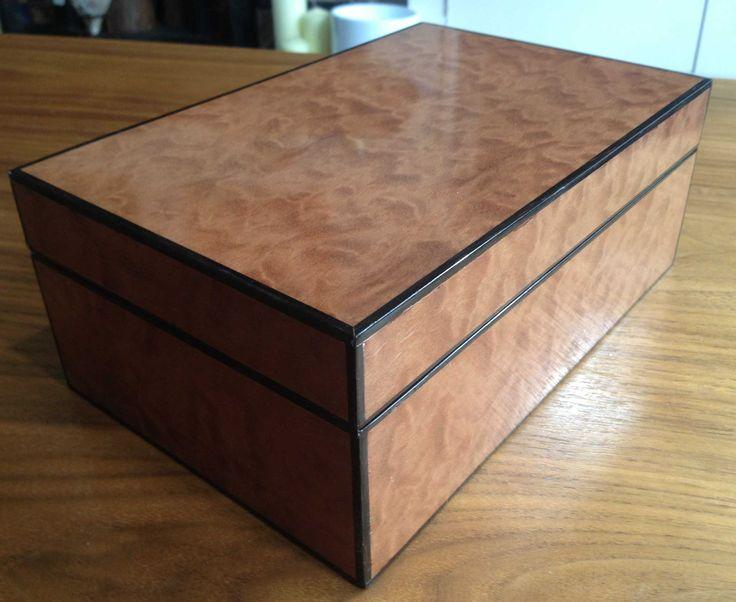 Veneered Jewellery Box in Pomelle Sapele. The exterior wood is Pomelle Sapele wi...