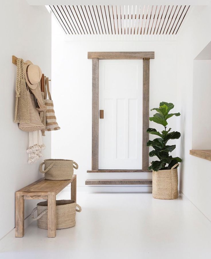 Natural raw wood decor for entryway