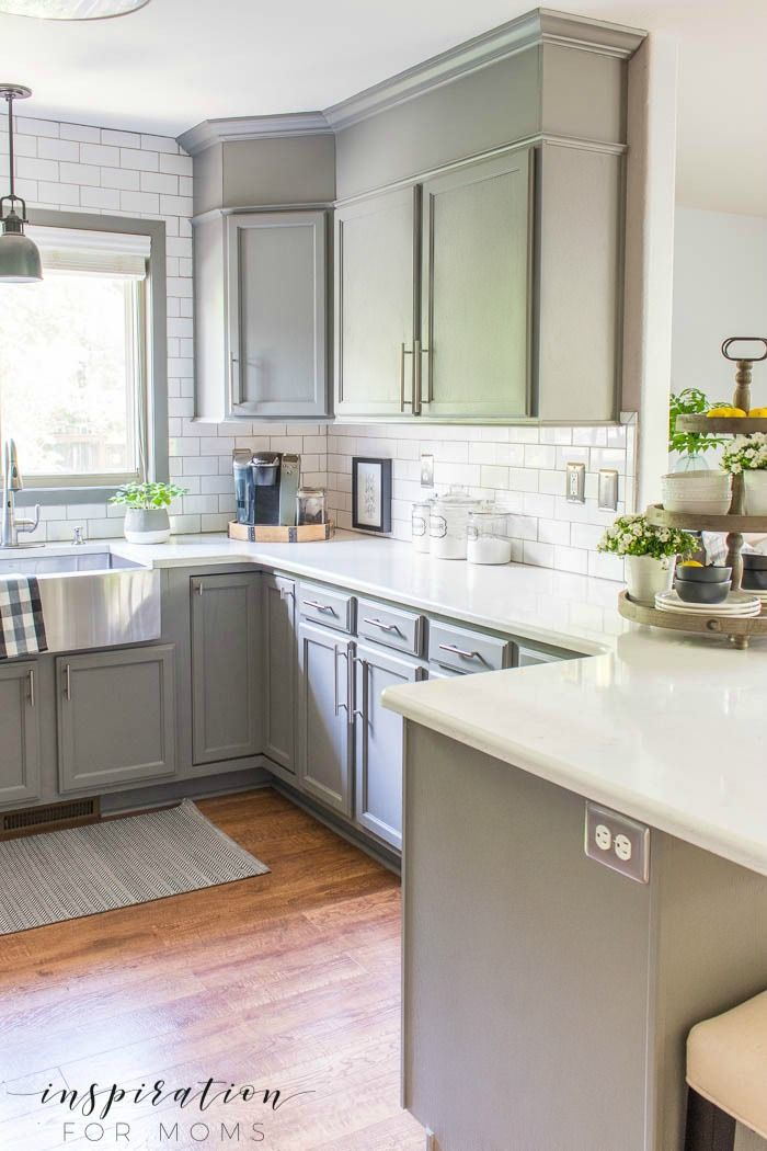 Summer Home Tour Kitchen Gray Cabinets White Subway Tile Farmhouse Sink