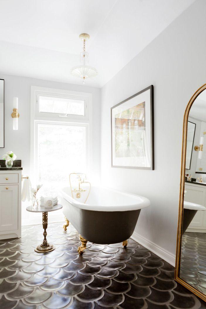 Bathroom Furniture : Bathroom with a black clawfoot tub, intricate ...