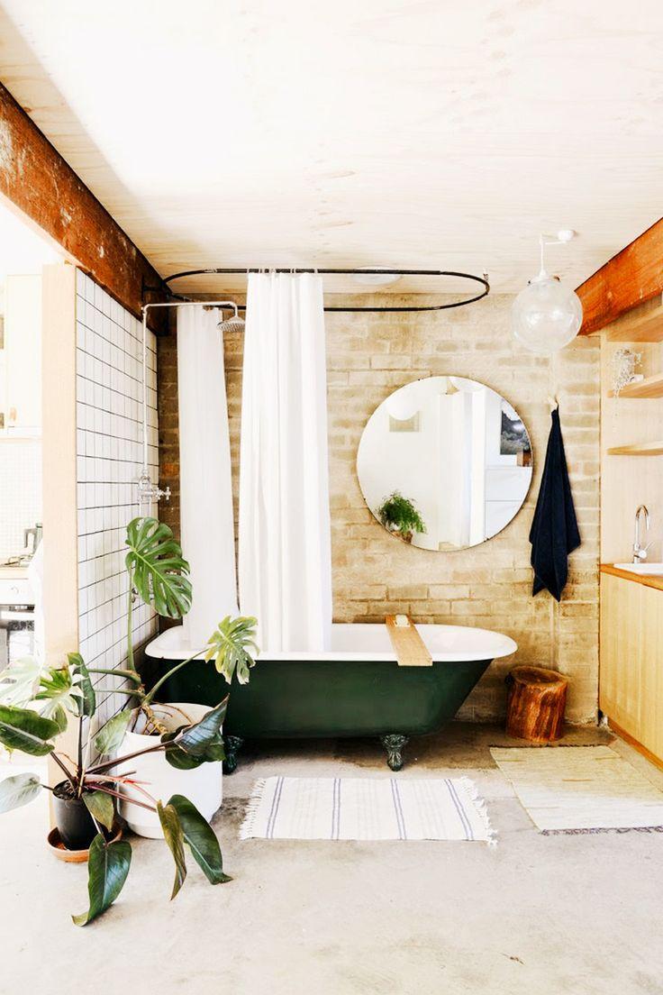 Bathroom Furniture : Beige brick wall, green bathtub, white shower ...