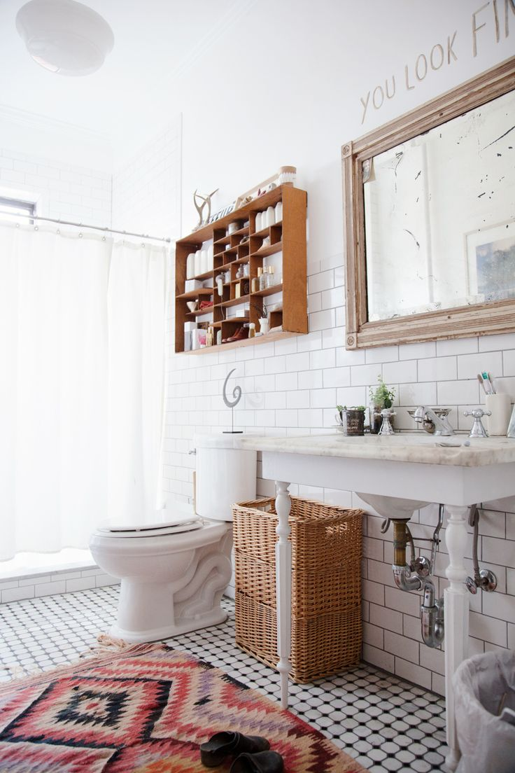 Bathroom Furniture : Persian rug in rustic, white bathroom - Decor ...