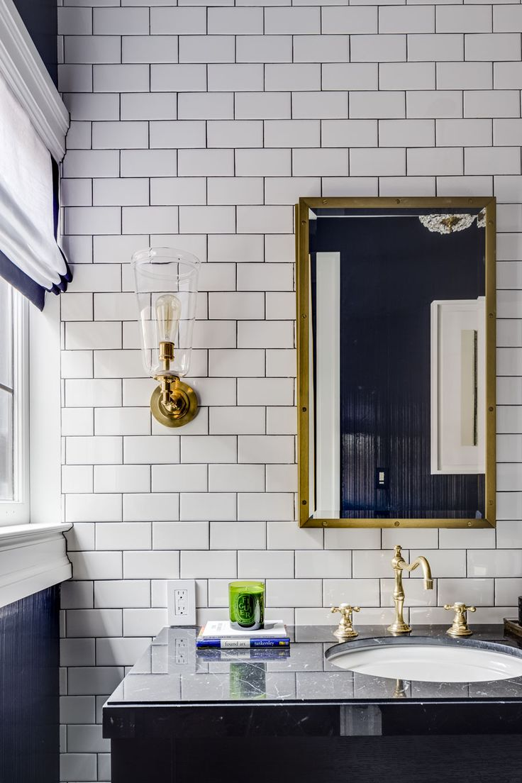 Bathroom Furniture : White subway tiles in navy and white bathroom ...