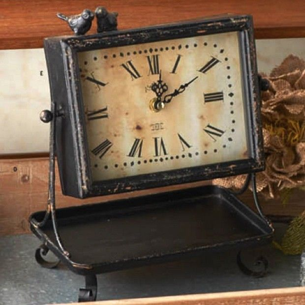 Rustic Black Metal Tray With Pivoting Clock