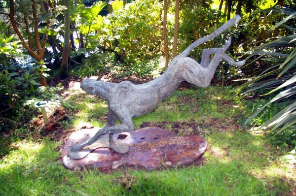 Bronze lost wax #sculpture by #sculptor Jan Sweeney titled: 'Big Landing Cheetah...