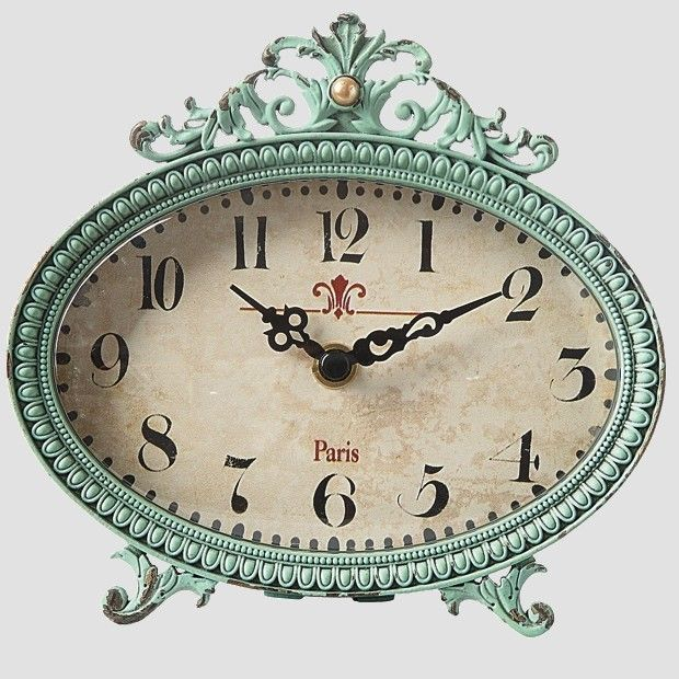 Antique Teal Metal Desk Clock