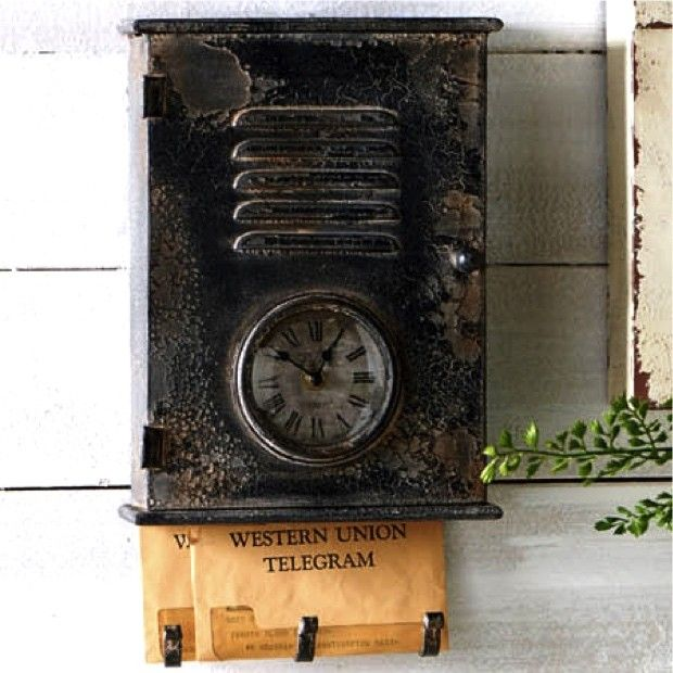 Black Vintage Inspired Metal Mailbox With Clock