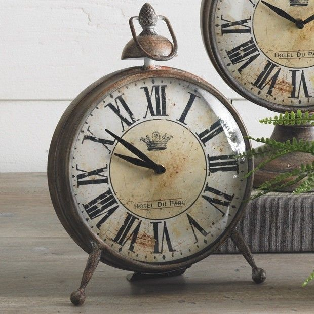Distressed Brown Metal Table Clock