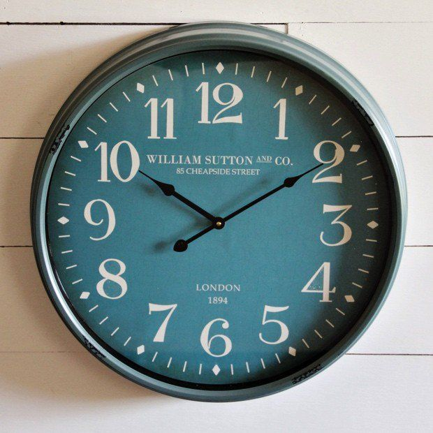 Metal Framed Blue Wall Clock