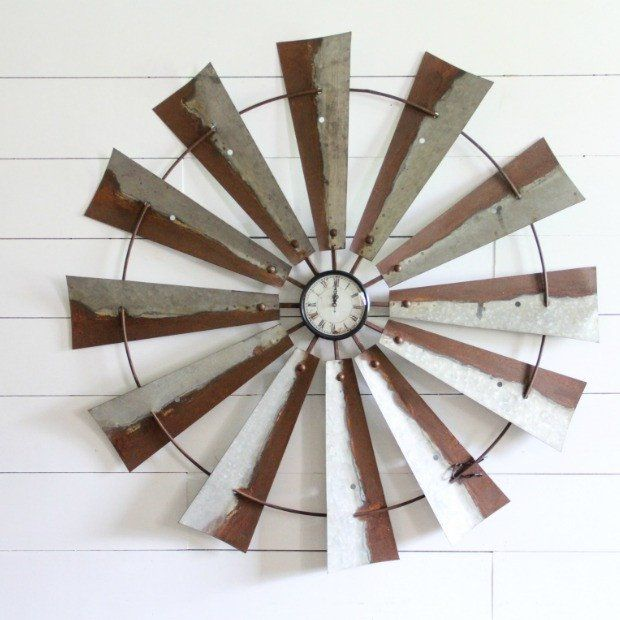 Oversized Brown and Gray Windmill Wall Clock