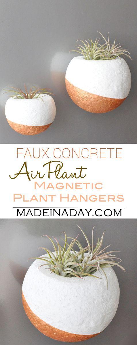 Faux Concrete Magnetic Air Plant Hanger