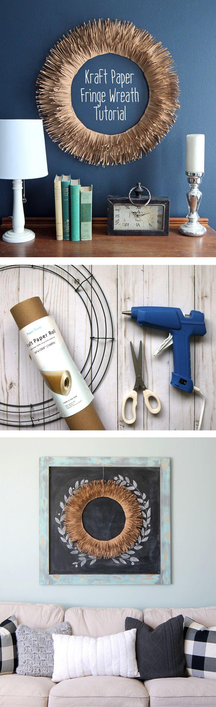 Kraft Paper Fringe Wreath Tutorial