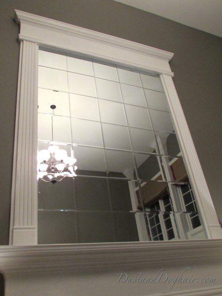 DIY Beveled Mirror Tile Overmantel