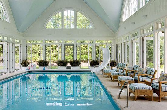 Indoor pool with slide  Decor - Pools : Indoor Pool | Pool Slide | French Doors | Home ...