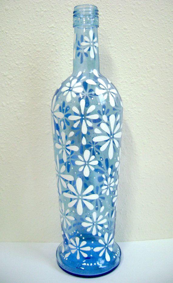 Daisy Vase: Upcycled & Hand Painted Wine Bottle Centerpiece, Blue Glass, Flower Vase