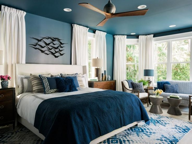 Furniture Bedrooms Rich Navy Blue Walls With Crisp White Accents And A Global Influence Creates C
