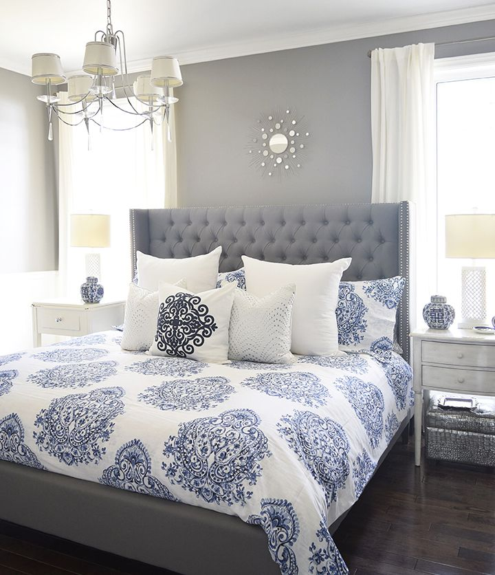Bedrooms : Gray And Blue Master Bedroom
