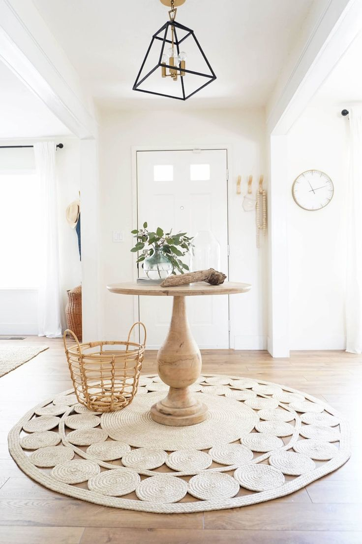 Furniture - Entryway : Neutral globally inspired entryway with round ...