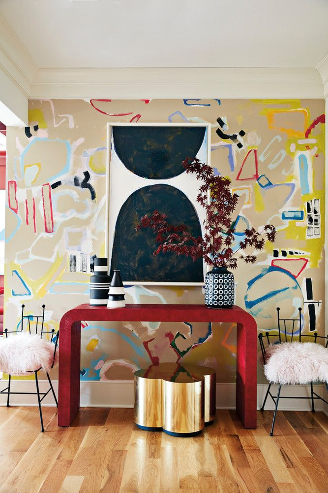 colorful entryway with bold wallpaper