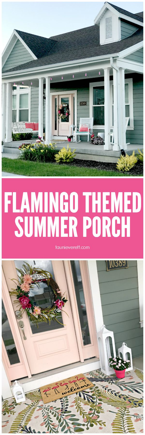 Flamingo Themed Summer Porch Ideas and Sources #flamingo #summer #porch #summerp...