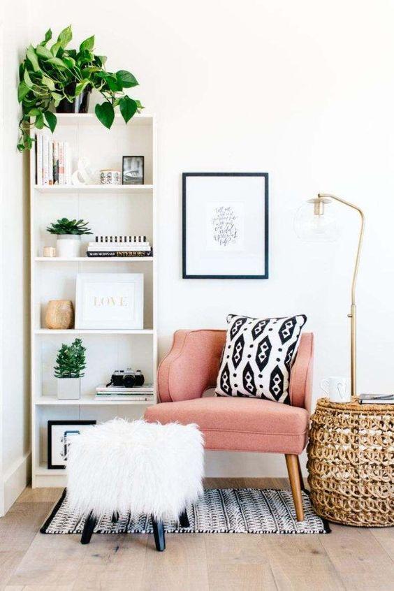 home decor living room deco petits espaces coin lecture moderne amenagement appart decor. Black Bedroom Furniture Sets. Home Design Ideas