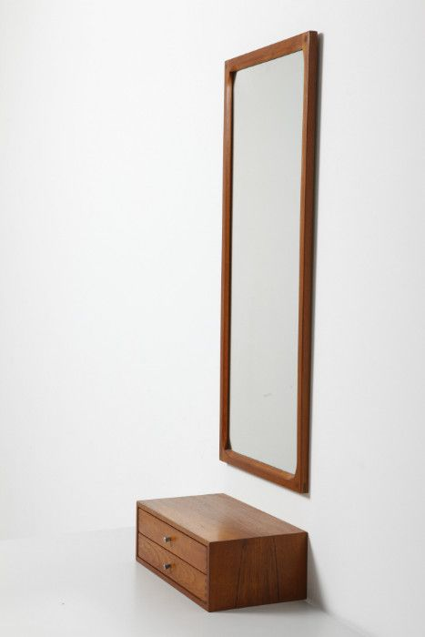Mid Century Modern : Wall Console and Mirror designed by Aksel Kjersgaard Odder ...