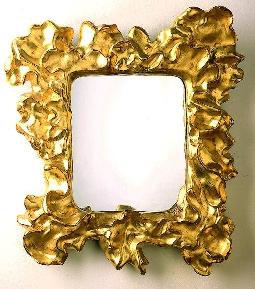 Water gilded organic picture frame designed by Antoni Gaudi for his Casa Mila