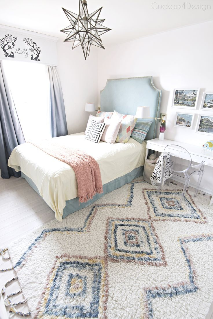 Turquoise Yellow And Blue S Bedroom With Colored Moroccan Rug