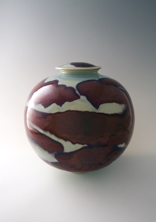 Brother Thomas - Large Globular Vase With Cover, porcelain with copper red and o...