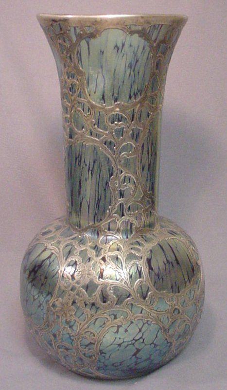 Vases Home Decor Monumental 19th C Loetz Silver Overlay Papillon