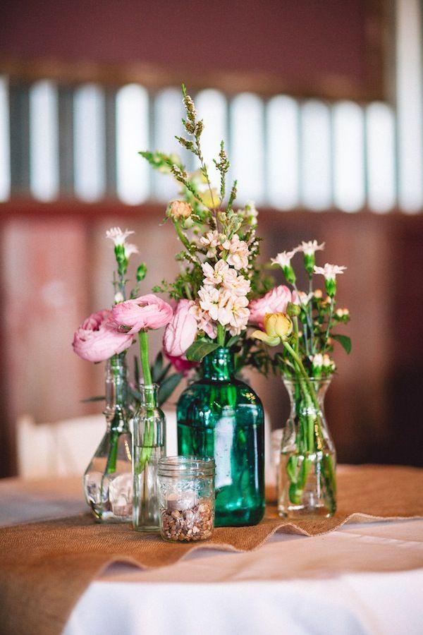 Wedding Decorative Bottles Rustic Wildflower Wedding Round Top