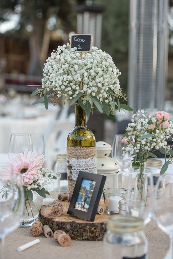 Wedding Decorative Bottles Wine Bottle Centerpieces With Babys