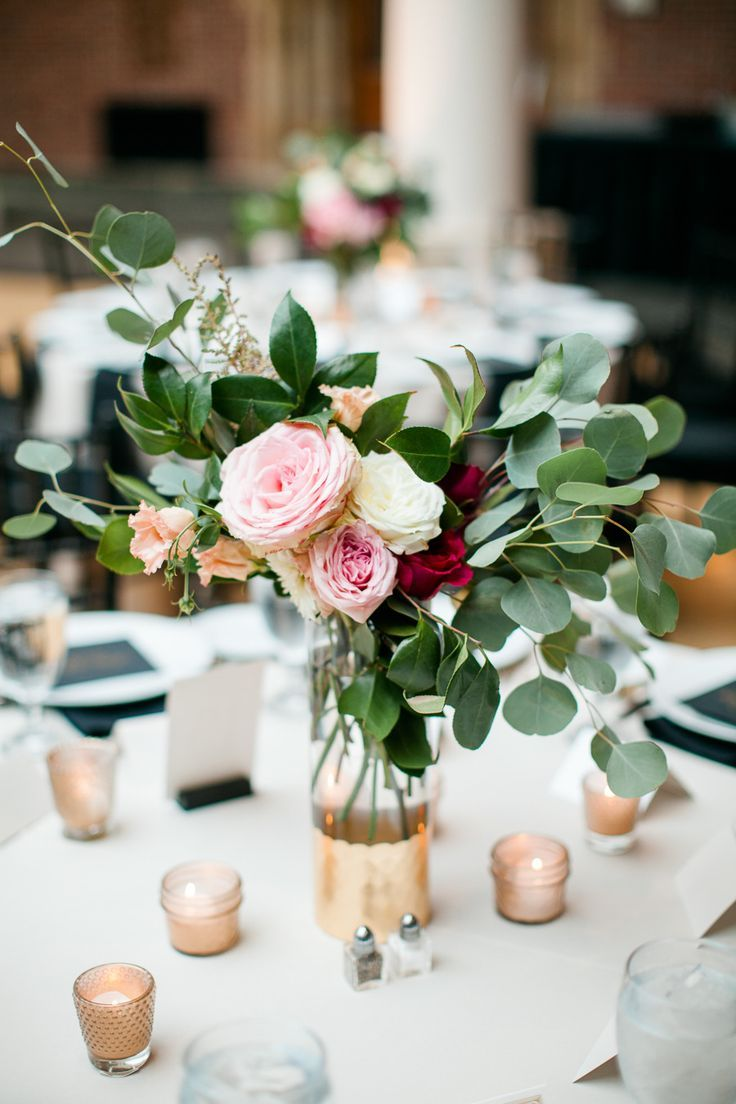 Wedding Decorative Bottles Rose And Eucalyptus Centerpiece For